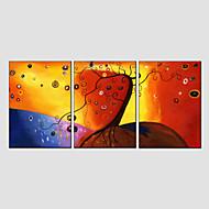 Pintada a mano Abstracto / Floral/BotánicoModern / Estilo europeo Tres Paneles Lienzos Pintura al óleo pintada a colgar For Decoración