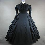 One-Piece/Dress Gothic Lolita Steampunk® / Vintage Inspired Cosplay Lolita Dress Black Vintage Long Sleeve Long Length Dress For Women