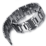 "Tungsten Magnetic Hematite Mens Bracelet, Heavy, Silver, 8.2"" KB2180"