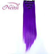 neitsi 10pcs 18inch highlight color clip sintetica in estensioni dei capelli viola in