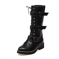 Women's Shoes Leather Low Heel Fashion Boots / Round Toe Boots Dress / Casual Black / White