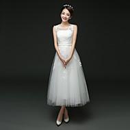 A-line Wedding Dress Tea-length Jewel Tulle with Lace