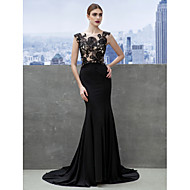 TS Couture Formal Evening Dress - Black Trumpet/Mermaid Scoop Court Train Jersey