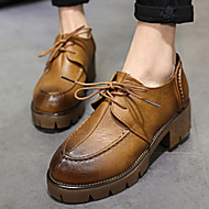 Women's Shoes British Vintage Low Heel Round Toe Oxfords Casual