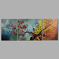 Hand-Painted Oil Painting on Canvas Wall Art Abstract Flowers Red BlossomThree Panel Ready to Hang