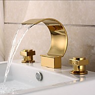 Gold Finish Brass Deck Mounted Waterfall Basin Faucet Curved Design