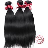 cabelo virgem Malásia reta tramas Malásia não transformados silkuy cabelos lisos da cor # 1b madeixas de cabelo top grau 3pcs / lot