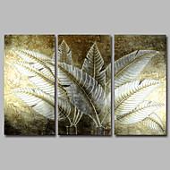 Ručno oslikana Cvjetni / BotaničkiModerna Tri plohe Platno Hang oslikana uljanim bojama For Početna Dekoracija