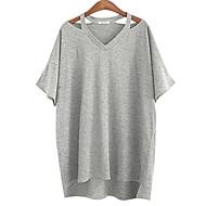 Vrouwen Eenvoudig Zomer T-shirt,Casual/Dagelijks / Grote maten Effen V-hals Korte mouw Wit / Zwart / Grijs Katoen Medium
