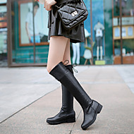 Women's Shoes Leatherette Chunky Heel Round Toe Boots Outdoor / Office & Career / Casual Black / Brown / White