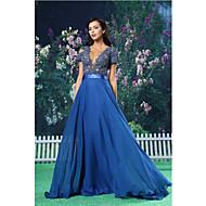 저녁 정장파티 드레스 - 로얄 블루 A라인 바닥 길이 보석 쉬폰 / 레이스 / 사틴