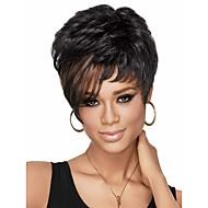 פיקסי השיק לחתוך פאות אפריקאיות אמריקאיות סינתטיות לפאות מלאים שיער גלי נשים קצרות עם פוני sw0116