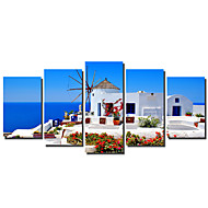 5 Panels Greece Landscape Painting Canvas Print Wall Art Picture Aegean Sea Print Art Unframed