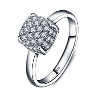 925 Sterling Silver Women Jewelry High Quality Fashion Square Ring with Cubic Zirconia Setting Perfect Gift For Girls