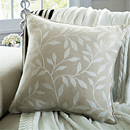Jacquard Linen Leaf Pillow With Insert