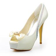 Women's Summer Stretch Satin Wedding Dress Party & Evening Stiletto Heel Crystal Ivory