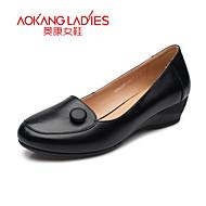 Aokang Women's Shoes Leather Wedge Heel Wedges/Comfort/Round Toe/Closed Toe Heels Outdoor/Office & Career/Dress/Casual
