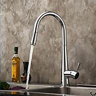 Nutida Utdragbar / Pull-down Horisontell montering Utdragbar dusch with  Keramisk Ventil Singel Handtag Ett hål for  Krom , Kökskran