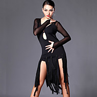 Latin Dance Dresses Women's Performance / Training Tulle / Milk Fiber Tassel(s) 2 Pieces Long Sleeve Dress / ShortsS:103cm / M:104cm /