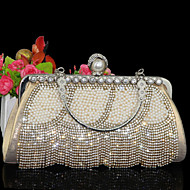 Women Evening Bag Other Leather Type Hobo Without Zipper Gold Silver