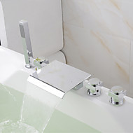 Modern New Bathroom Deck Mounted Polished Chrome Brass Waterfall Bathtub Faucet With Hand Shower Mixed Tap
