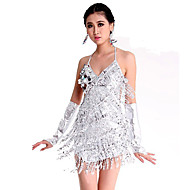Latin Dance Dresses Women's Performance Spandex Polyester Paillettes 1 Piece Sleeveless Dress 78