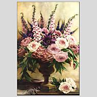 Håndmalte Blomstret/BotaniskEuropeisk Stil / Moderne Et Panel Lerret Hang malte oljemaleri For Hjem Dekor