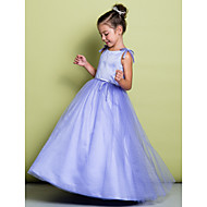 Lanting Bride A-line Floor-length Flower Girl Dress - Satin / Tulle Sleeveless Scoop with Bow(s)