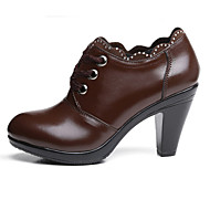 Women's Shoes Diamond Chunky Heel Comfort / Closed Toe Oxfords Dress / Casual Black / Brown