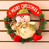 "30CM/12"" Christmas Rattan Hoop Christmas Decoration Hangings Christmas Wreath Snowman"