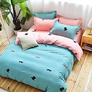 Pure Color With Little Hat, Lips, Beard Bedding Set Of 4pcs In Many Colors Polyester