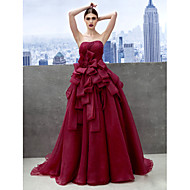 TS Couture® Formal Evening Dress - Burgundy A-line Sweetheart Chapel Train Organza