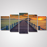 5 Panels Sunset Wooden Bridge by the Beach Picture Print on Canvas Unframed