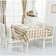 Light Brown Plaid Lacy Design  Jacquard  Tablecloths Fabric Tea Tablecloth