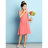 Lanting Bride® Knelang Chiffon Junior brudepikekjole - Mini-me A-linje Haltertopp med Kryssdrapering