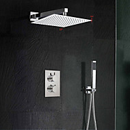12'' Modern Rainfall Waterfall Chrome Shower Faucet Thermostatic Valve W/ Hand Shower