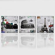 Landskap / Arkitektur / Patriotisk / Moderne / Romantikk / Pop Art Lerret Print Tre Paneler Klar til å henge , Kvadrat