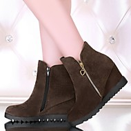 Women's Shoes Leatherette Wedge Heel Wedges /Round Toe Boots Outdoor / Office & Career / Casual Black / Brown / Yellow