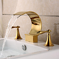 Gold Plating Deck Mounted 3 Pieces Waterfall Basin Water Tap
