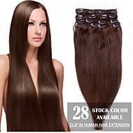 """24 """"średni brąz (# 4) 8szt klip w ludzkich włosów rozszerzeniach"""