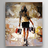 Oil Painting Impression Woman Hand Painted Canvas with Stretched Framed