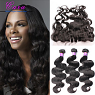 Lace Frontal Closure With Bundles 6A Brazilian Virgin Hair Body Wave Hair Wefts With 13x4 Bleached Knots Closure