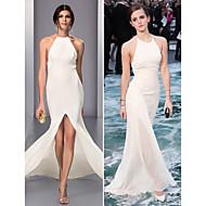 TS Couture Formal Evening Dress - Ivory Plus Sizes / Petite Sheath/Column Halter Sweep/Brush Train Chiffon