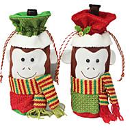 2pcs/set Wine Bottle Cover Bags Christmas Dinner Table Decoration For Home Party Decor Santa Claus Xmas Supplies