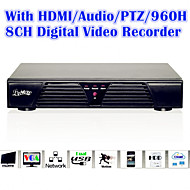 med HDMI / PTZ-styrning / audio / larm / 8channel video fullfunktions 960h digital video recorder
