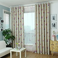 Two Panels Country Butterfly Beige Bedroom Polyester Panel Curtains Drapes