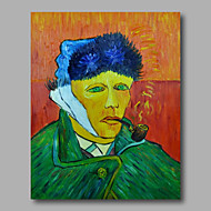 Ready to hang Stretched Hand-Painted Oil Painting Canvas Abstract Van Gogh repro Self Portrait One Panel