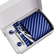 Gravata / Lenço de Paletó / Prendedor de Gravata / Abotoadura ( Azul , Poliéster ) Listrado