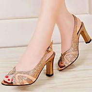 נעלי נשים - סנדלים - סוויד - נעלים עם פתח קדמי / נוחות - כסוף / זהב - משרד ועבודה / קז'ואל / מסיבה וערב - עקב עבה