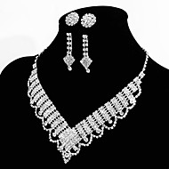 Elegant Marvelous Ladies Necklace and Earrings Jewelry Set 2 Pairs of Earrings 1 Crystal Necklace